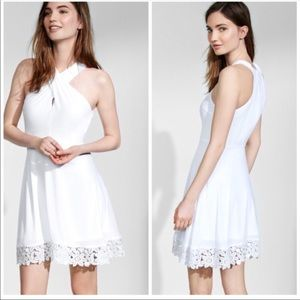 Express Dresses - Crossover Halter Crocheted Hem Fit And Flare Dress